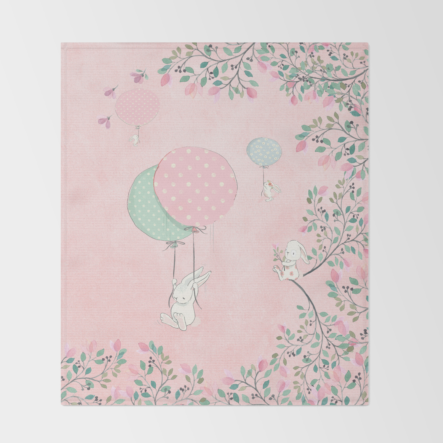 Cute Flying Bunny With Balloon And Flower Rabbit Animal On Pink