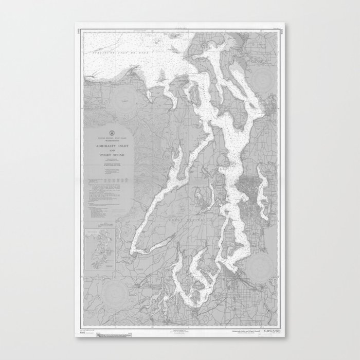 image about Printable Map of Washington State called Puget Good Washington Country Nautical Chart Map Print 1956, Map Artwork Prints Canvas Print via chartedwaters