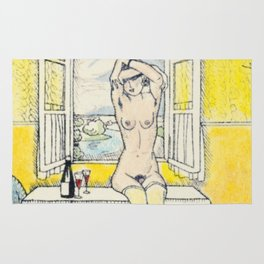 Vintage Erotic Hand Colored Nude Wine Glasses Blindfold Rug