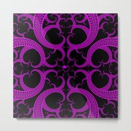 Purple Gothic Fractal Heart Pattern Metal Print