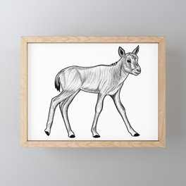 Arabian oryx calf - ink illustration Framed Mini Art Print