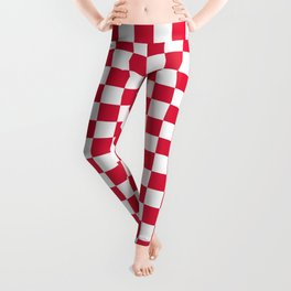 White and Crimson Red Checkerboard Leggings