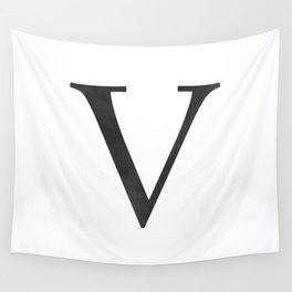 Letter V Initial Monogram Black and White Wall Tapestry
