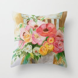 Flowers on a Chippy Chair Throw Pillow