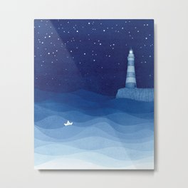 Lighthouse & the paper boat, blue ocean Metal Print