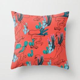 Picking cactus Throw Pillow