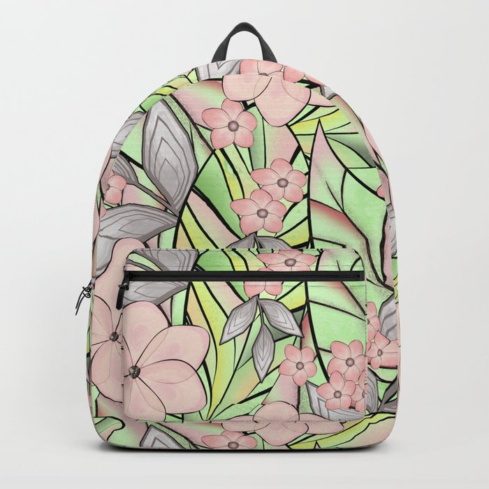 Delicate tropical floral pattern. Backpack