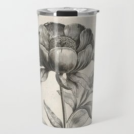 Antique floral black and white chinoiserie flower vintage Paris flowers French botanical goth print Travel Mug