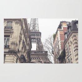 Paris streets, Eiffel tower, city skyline, industrial fine art photo, shabby chic Rug