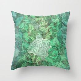 Green Blobs Throw Pillow