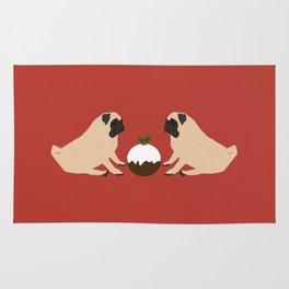 Christmas Pudding and Pugs Rug