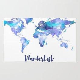 Ultra Violet And Blue Wanderlust Map Rug