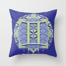 Flower of Life GEMINI Astrology Design Throw Pillow
