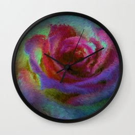 pink rose at sunset impressionist painting Wall Clock
