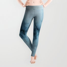 Blue marble abstraction Leggings