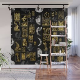 Beautiful Tarot Print with Raven and Moon Wall Mural