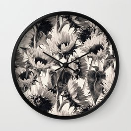 Sunflowers in Soft Sepia Wall Clock
