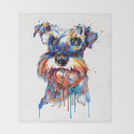 Schnauzer Head Watercolor Portrait Throw Blanket