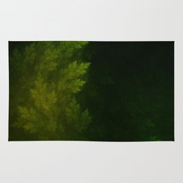 Beautiful Fractal Pines in the Misty Spring Night Rug