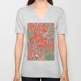 Rome city map classic Unisex V-Neck