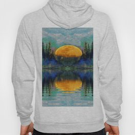 SURREAL RISING GOLDEN MOON BLUE REFLECTIONS Hoody