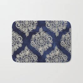 Cream Floral Moroccan Pattern on Deep Indigo Ink Bath Mat
