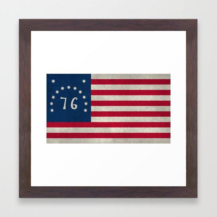 American Bennington flag - Vintage Stone Textured Framed Art Print ...