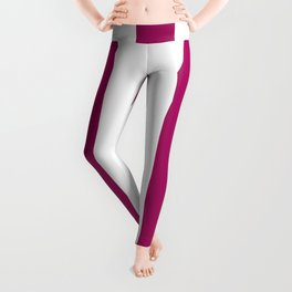 Jazzberry jam violet - solid color - white vertical lines pattern Leggings