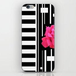 MODERN ABSTRACT PINK ROSES WHITE-BLACK ART iPhone Skin