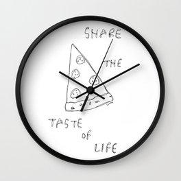 Taste of Life - pizza illustration Wall Clock