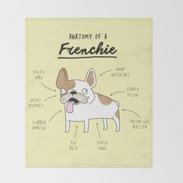Anatomy of a Frenchie Throw Blanket
