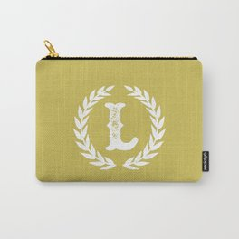 Mustard Yellow Monogram: Letter L Carry-All Pouch