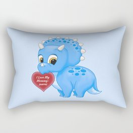 Cute Blue Baby Triceratops Red Love Mommy Heart Rectangular Pillow