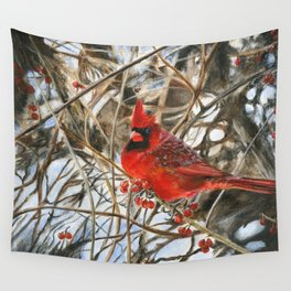 Winter Cardinal by Teresa Thompson Wall Tapestry