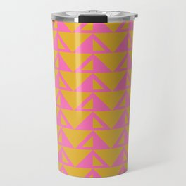 Geometric Triangle Pattern in Sunny Yellow and Neon Pink Travel Mug