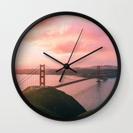 Sherbert Skies over the Golden Gate Bridge from Slackerhill Wall Clock