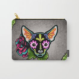 Chihuahua in Black - Day of the Dead Sugar Skull Dog Carry-All Pouch