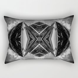 Alien Mothership and Cloudscape in Black and White Rectangular Pillow