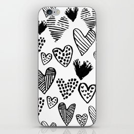 Hearts black and white hand drawn minimal love valentines day pattern gifts decor iPhone Skin