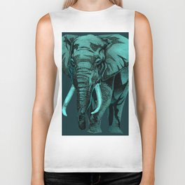 Aqua Elephant Biker Tank