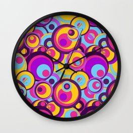 Retro Circles Groovy Colors Wall Clock