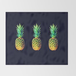 Night Knights Pineapples Throw Blanket