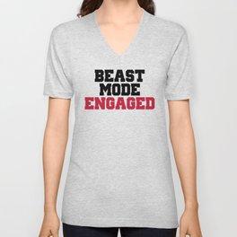 Beast Mode Engaged Gym Quote Unisex V-Neck