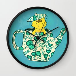 Dinnerware sets - Kitten in a teapot Wall Clock