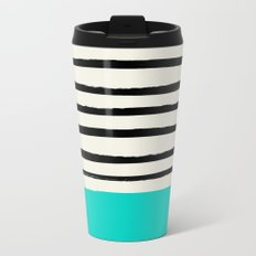 Aqua & Stripes Travel Mug
