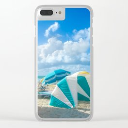 Miami beach cabanas and parasols Clear iPhone Case