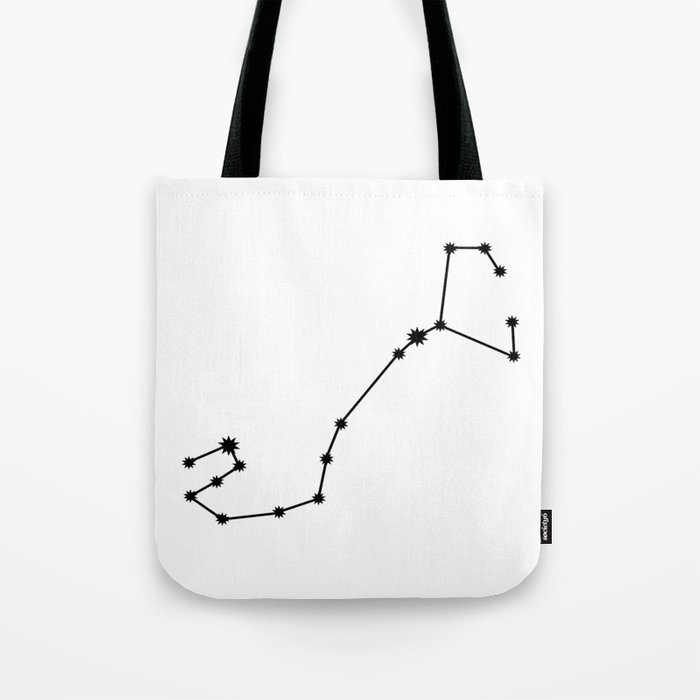Scorpio Star Sign Black & White Tote Bag