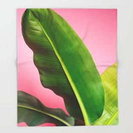 Banana Palm Leaves Pink Background Throw Blanket