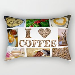 I Love Coffee Collage - Cafe or Kitchen Decor Rectangular Pillow