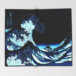 the Great Wave Blue Throw Blanket
